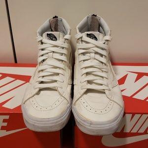 Vans white leather high top zip up mens sz 10